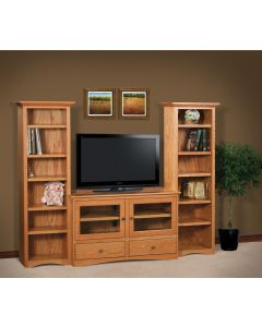 TV Stand w/ Twin Tower Bookcases