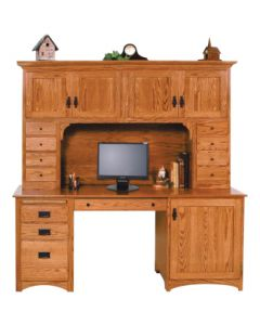 Mission Double Pedestal Desk & Hutch